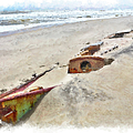 Buried Treasure - Shipwreck on the Outer Banks II Poster by Dan Carmichael