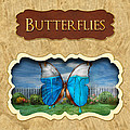Butterflies button Print by Mike Savad
