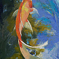 Butterfly Koi Painting Print by Michael Creese