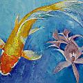 Butterfly Koi with Orchids Print by Michael Creese