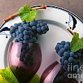 Cabernet Grapes and Wine Glasses Print by Craig Lovell