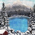 Cabin by the Lake - Winter Print by Barbara Griffin