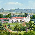 California Mission San Luis Rey Print by Mary Helmreich