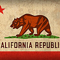California State Flag Art on Worn Canvas Print by Design Turnpike