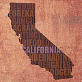 California Word Art State Map on Canvas Print by Design Turnpike