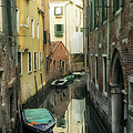 Canal boats and reflections Venice Italy Print by Marianne Campolongo