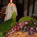 Candle and Grapes Poster by Marcia Socolik