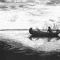 Canoe Silhouette Print by Lawrence Tripoli