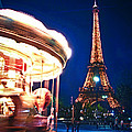 Carousel and Eiffel tower Poster by Elena Elisseeva