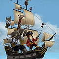 Cartoon Animal Pirate Ship Print by Martin Davey