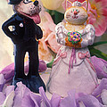 Cat and dog bride and groom Print by Garry Gay