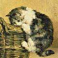 Cat with a Basket Poster by Charles Van Den Eycken
