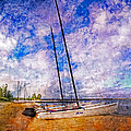 Catamarans at the Lake Print by Debra and Dave Vanderlaan