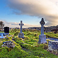 Celtic Crosses in an Old Irish Cemetery Poster by Mark Tisdale
