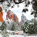 Central Garden of the Gods after a Fresh Snowfall Print by John Hoffman