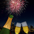 Champagne Toast with Portland Oregon Skyline Print by JPLDesigns