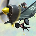 cheeky monkey hanging from plane Poster by Martin Davey
