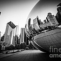 Chicago Bean Cloud Gate in Black and White Print by Paul Velgos