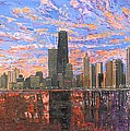 Chicago Skyline - Lake Michigan Print by Mike Rabe