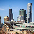 Chicago Skyline with Soldier Field and Sears Tower  Print by Paul Velgos