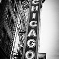 Chicago Theatre Sign in Black and White Print by Paul Velgos