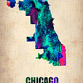Chicago Watercolor Map Poster by Irina  March