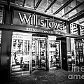 Chicago Willis-Sears Tower Sign in Black and White Print by Paul Velgos