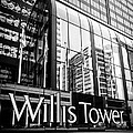Chicago Willis Tower Sign in Black and White Print by Paul Velgos