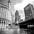 Chicago Wrigley Tribune Equitable Buildings Black and White Phot Print by Paul Velgos