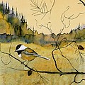 Chickadee In Dancing Pine Print by Carolyn Doe