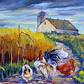 Chickens in the Cornfield Print by Peggy Wilson