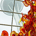 Chihuly Fire Orange Baskets With Seattle Space Needle Print by Jordan Blackstone