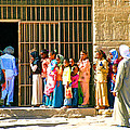 Children and Tourists at Entry to Temple of Hathor in Dendera-Egypt copy Print by Ruth Hager