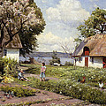 Children in a Farmyard Print by Peder Monsted