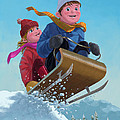 children snow sleigh ride Poster by Martin Davey