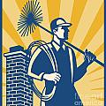 Chimney Sweeper Cleaner Worker Retro Poster by Aloysius Patrimonio