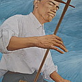 Chinese Citicen Barack Obama is playing Erhu a Chinese two stringed musical instrument Poster by Tu Guohong