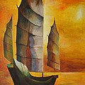 Chinese Junk In Ochre Poster by Tracey Harrington-Simpson
