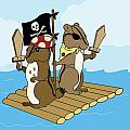 Chipmunk Pirate Dash and Scoot Print by Christy Beckwith