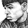 Chris brown art drawing sketch portrait Print by Kim Wang