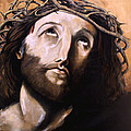 Christ with Crown of Thorns Print by Laura Ury