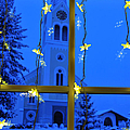 Christmas decoration - yellow stars and blue church Poster by Matthias Hauser