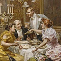 Christmas Eve Dinner in the Private Dining Room of a Great Restaurant Print by Ludovico Marchetti