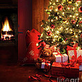Christmas scene with tree and fire in background Poster by Sandra Cunningham
