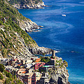 Cinque Terre Towns on the Cliffs Poster by George Oze
