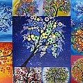 Circle Tree Collage Poster by Cathy Jacobs