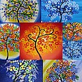 Circle Trees Poster by Cathy Jacobs