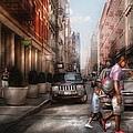 City - NY - Walking down Mercer Street Print by Mike Savad