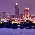 Cleveland Skyline at Night Evening Panorama Print by Jon Holiday