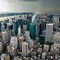 cloudy Manhattan Poster by Hannes Cmarits